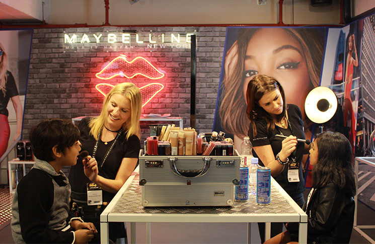 At the Mabylline make-up counter