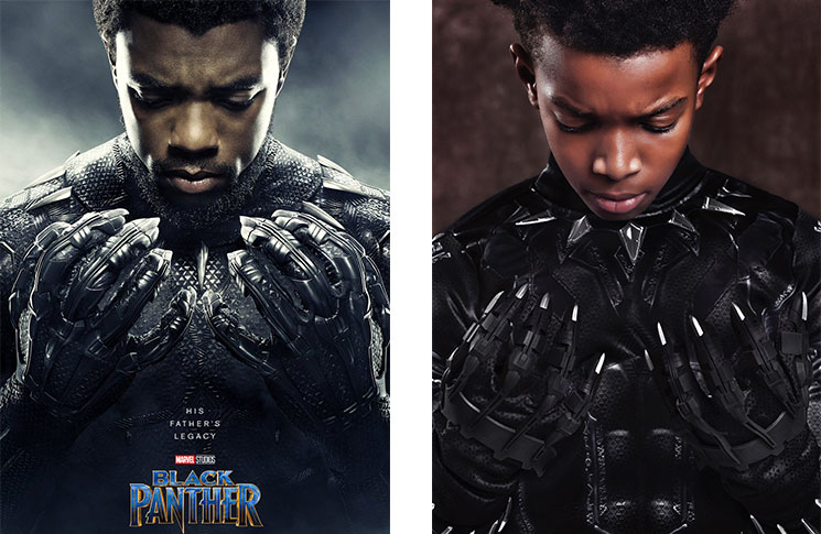 Young models recreate the posters of new film Black Panther