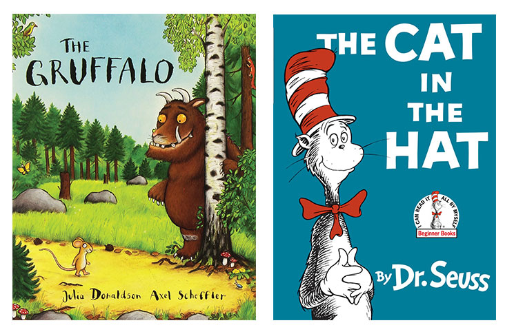 Julia Donaldson's The Gruffalo came fifth, while The Cat In The Hat also made the top 10