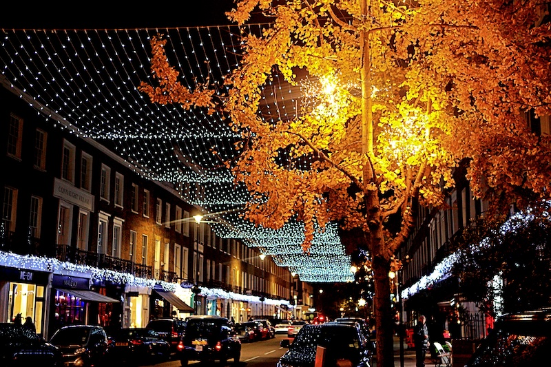 Connaught Village Christmas lights