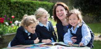 St Catherine's Prep School headteacher with pupils