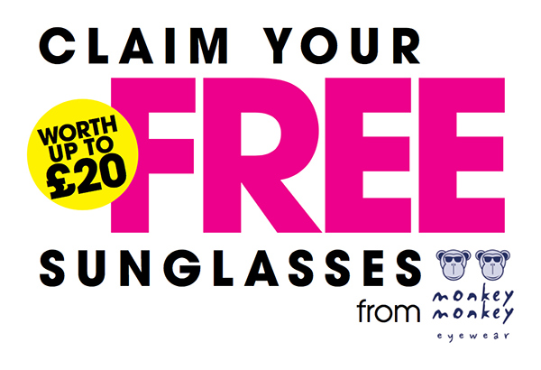 Claim your free sunglasses from Monkeymonkey eyewear. Worth up to twenty pounds