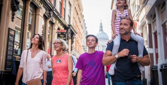 Family exploring London