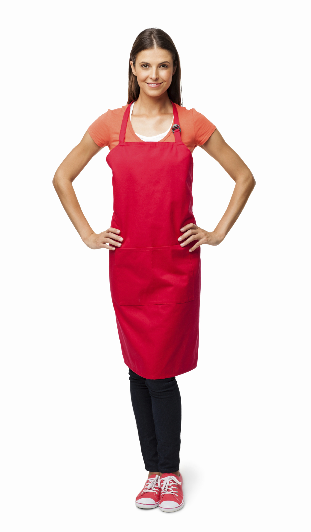 Woman In Red Apron - Isolated