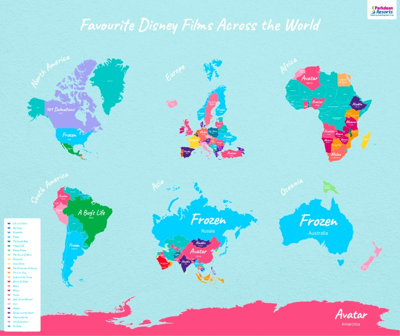 popular Disney films Favourites Continents Map